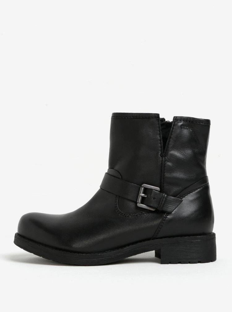 Černé dámské kožené kotníkové boty s přezkou Geox New Virna