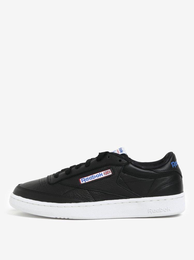 Pantofi sport negri din piele naturala pentru barbati - Reebok CLUB C 85 SO