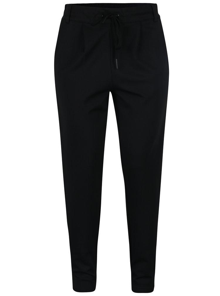 Čierne nohavice s pružným pásom a zamatovým pruhom na boku ONLY Poptrash