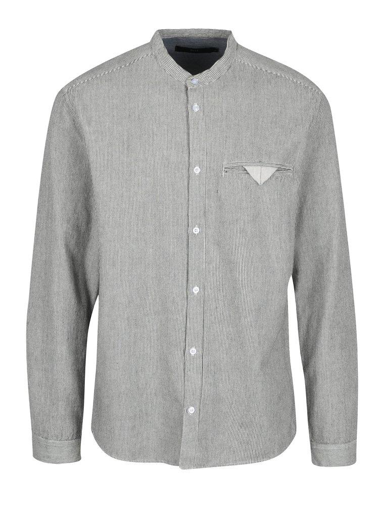 Černo-krémová pruhovaná košile s kapsou SUIT Dale