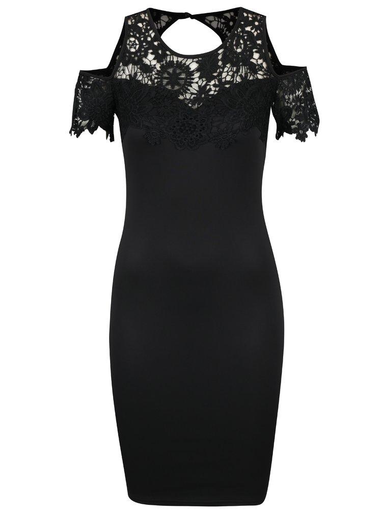 Černé pouzdrové šaty s průstřihy na ramenou AX Paris