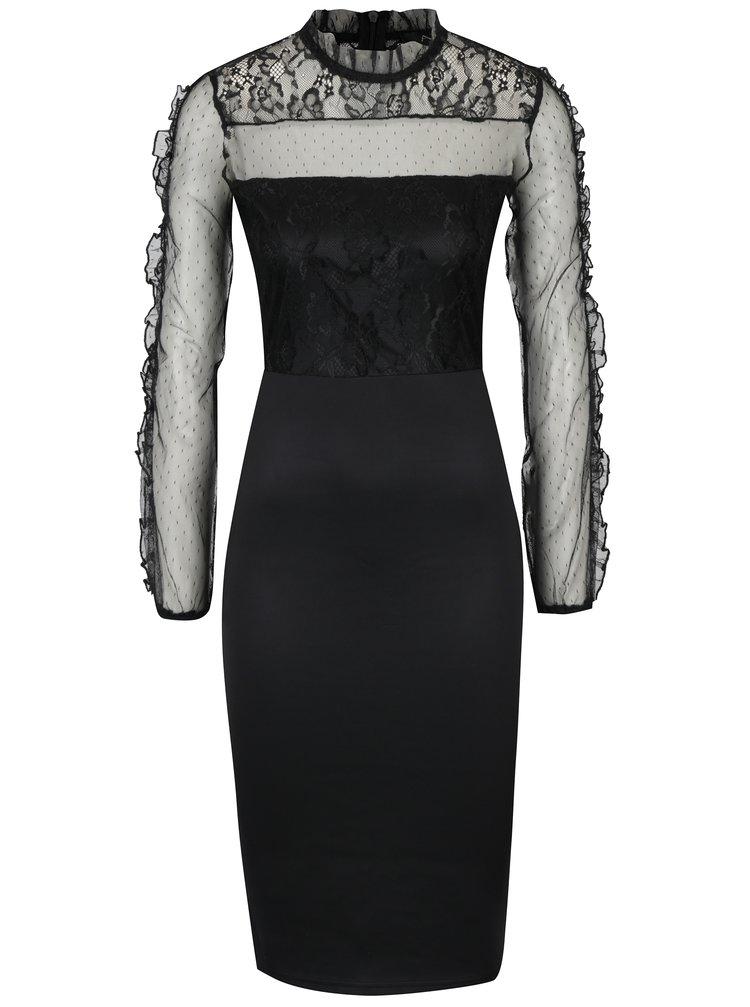 Černé pouzdrové šaty s krajkovým sedlem a rukávy AX Paris