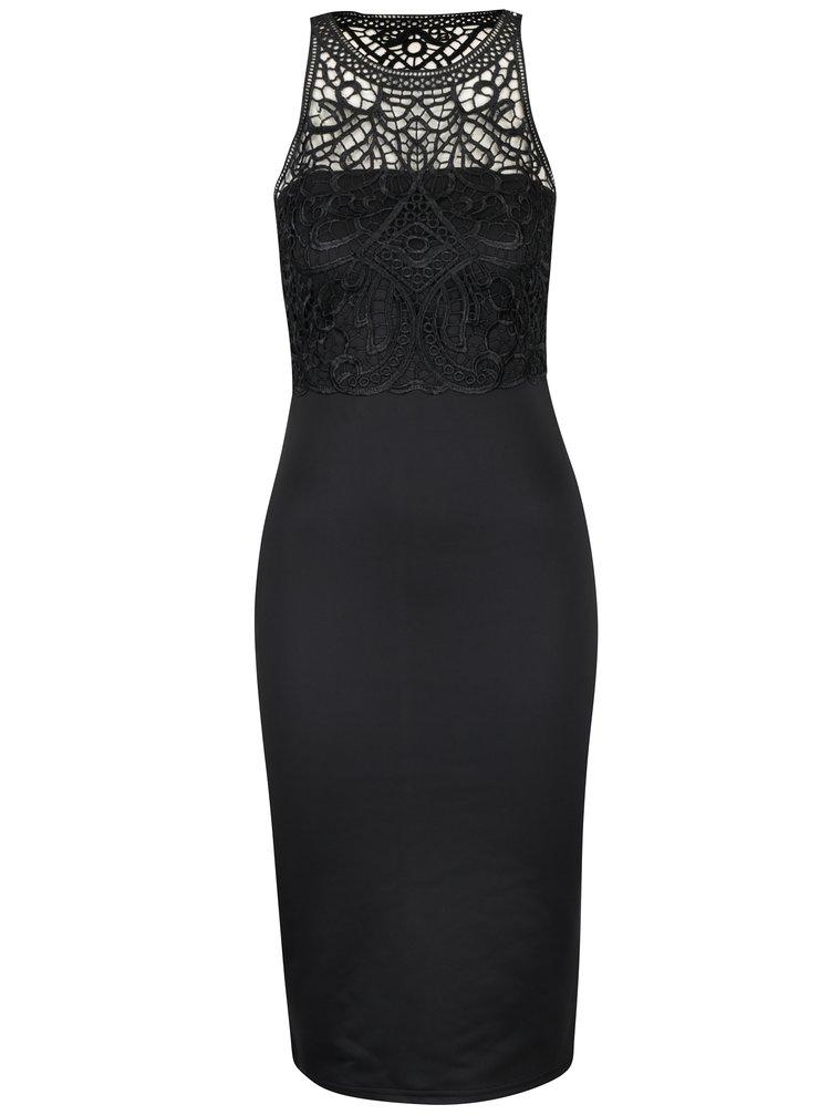 Černé pouzdrové šaty s krajkovým topem AX Paris