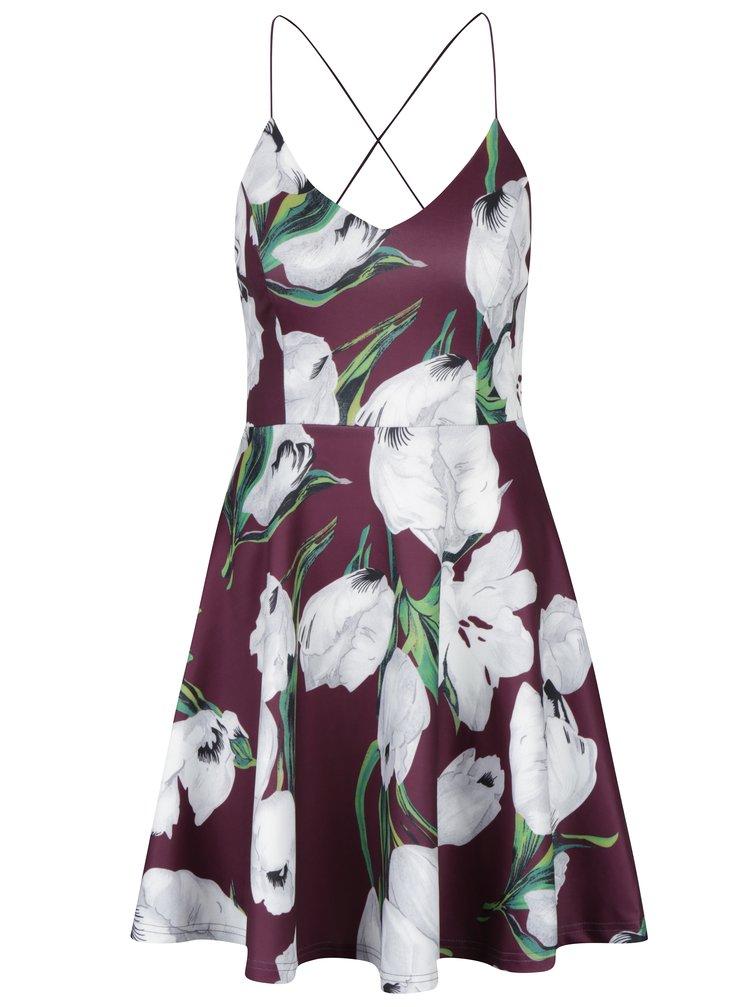 Fialové květované šaty na tenká ramínka AX Paris
