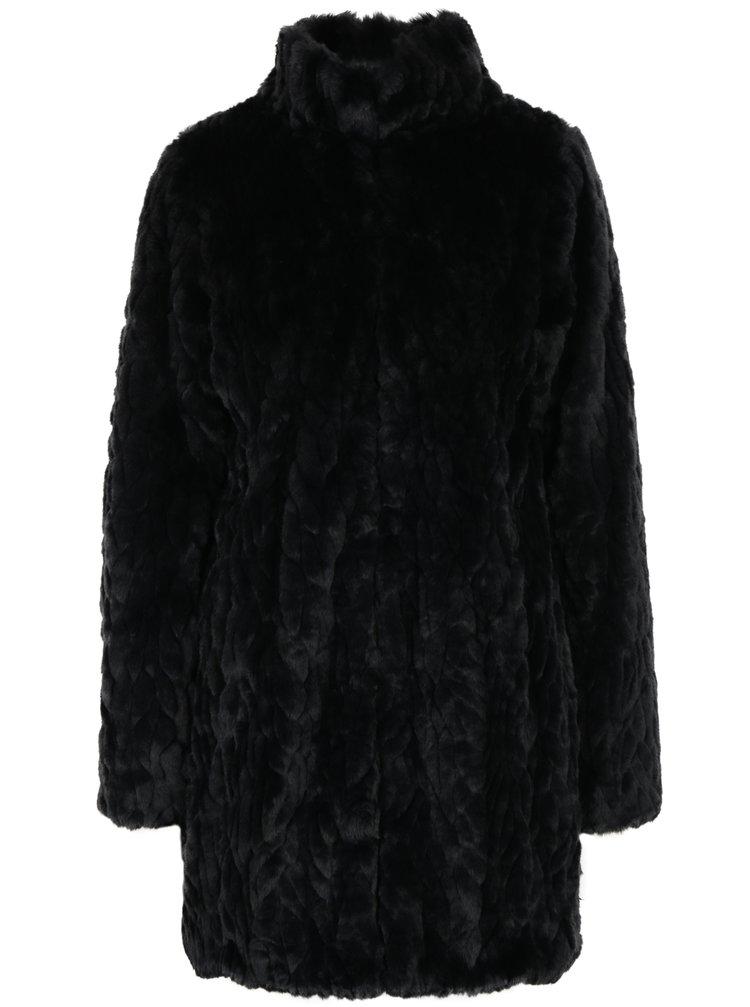 Černý kabát z umělé kožešiny s kapsami Dorothy Perkins