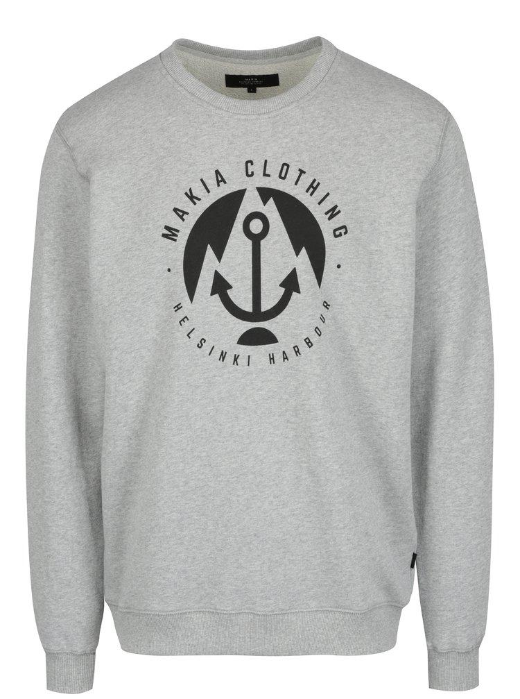 Pulover gri cu logo Makia Harbour