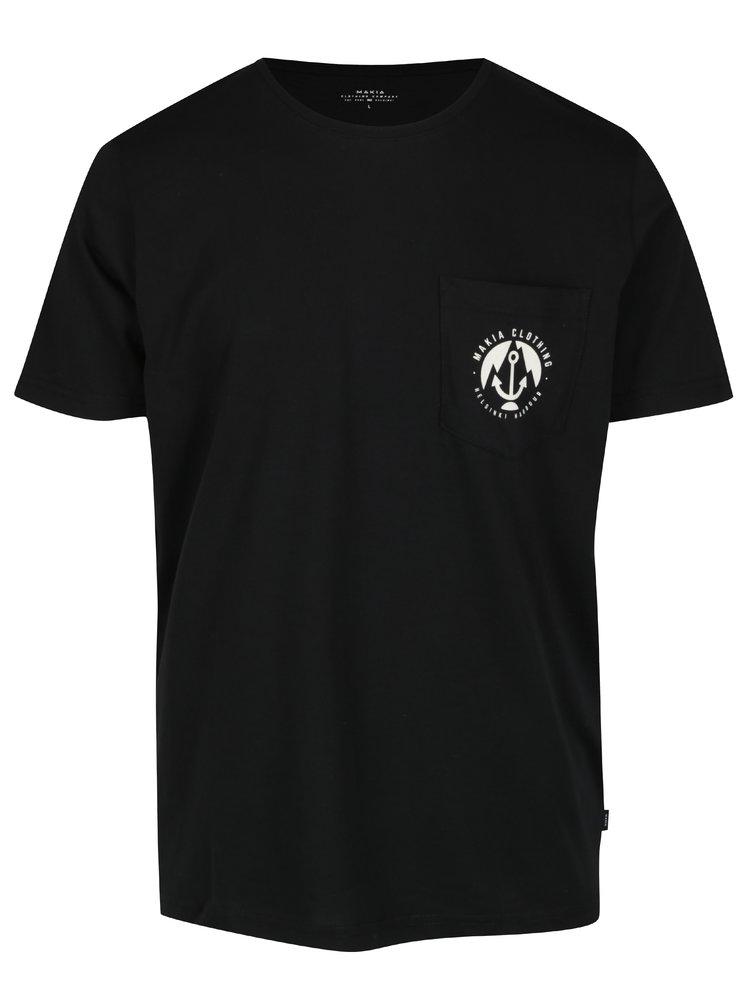 Tricou negru cu logo si buzunar Makia Harbour