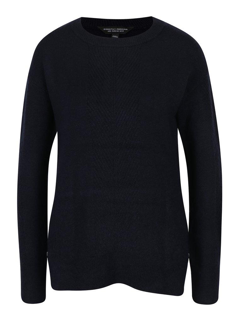 Tmavě modrý svetr s postranními zipy Dorothy Perkins