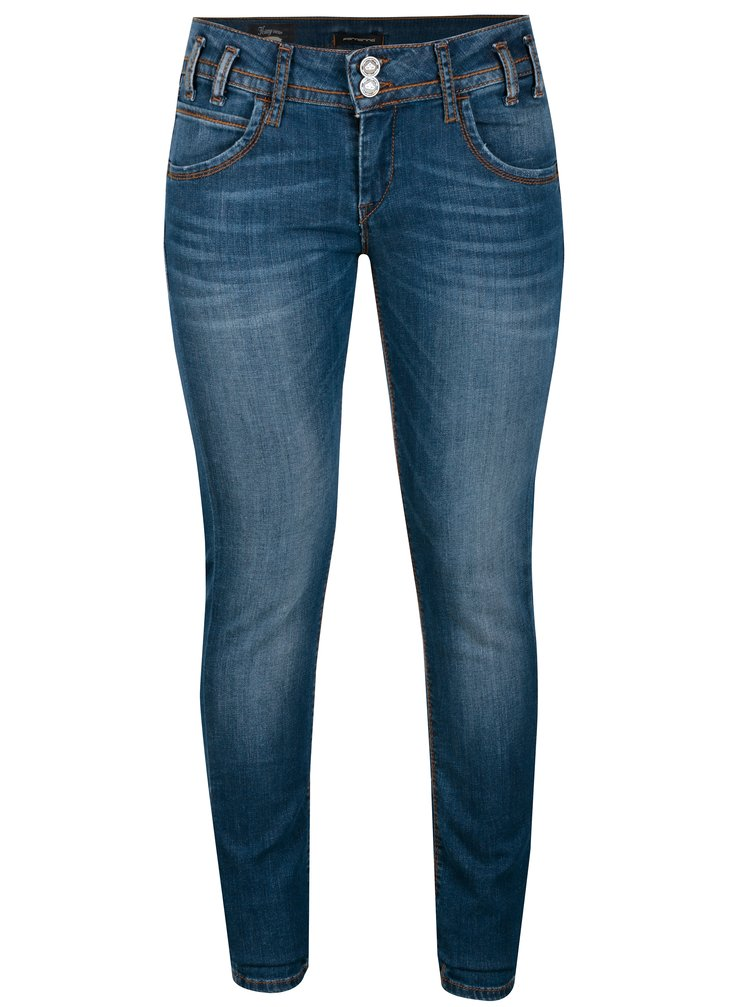 Modré skinny džíny s vyšisovaným efektem Fornarina Kitty New
