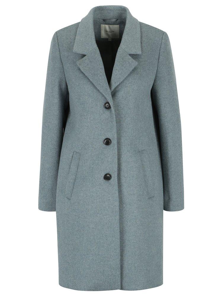 Palton gri din amestec de lana Selected Femme Sasja