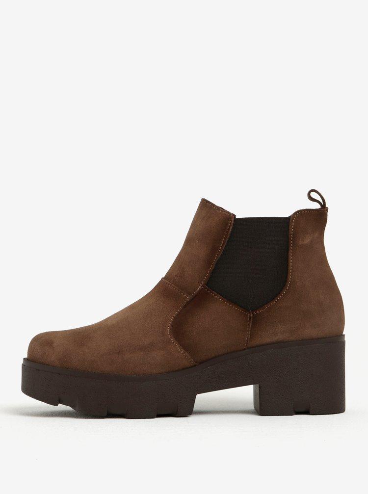 Hnědé semišové chelsea boty na podpatku OJJU