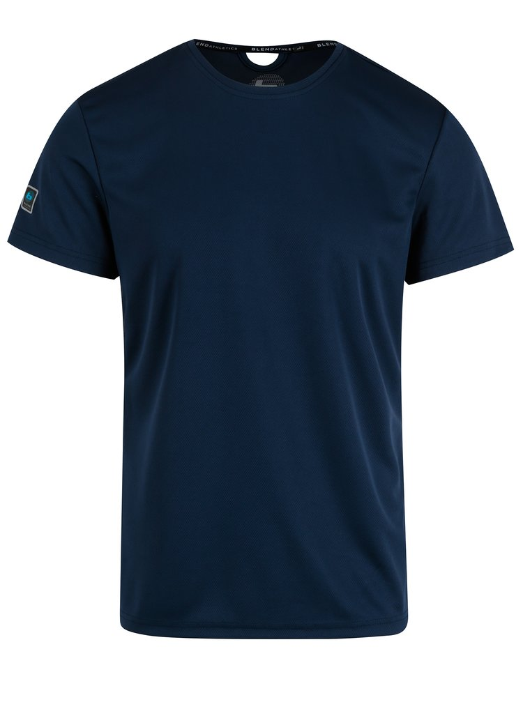 Tricou slim fit bleumarin cu decupaj Blend