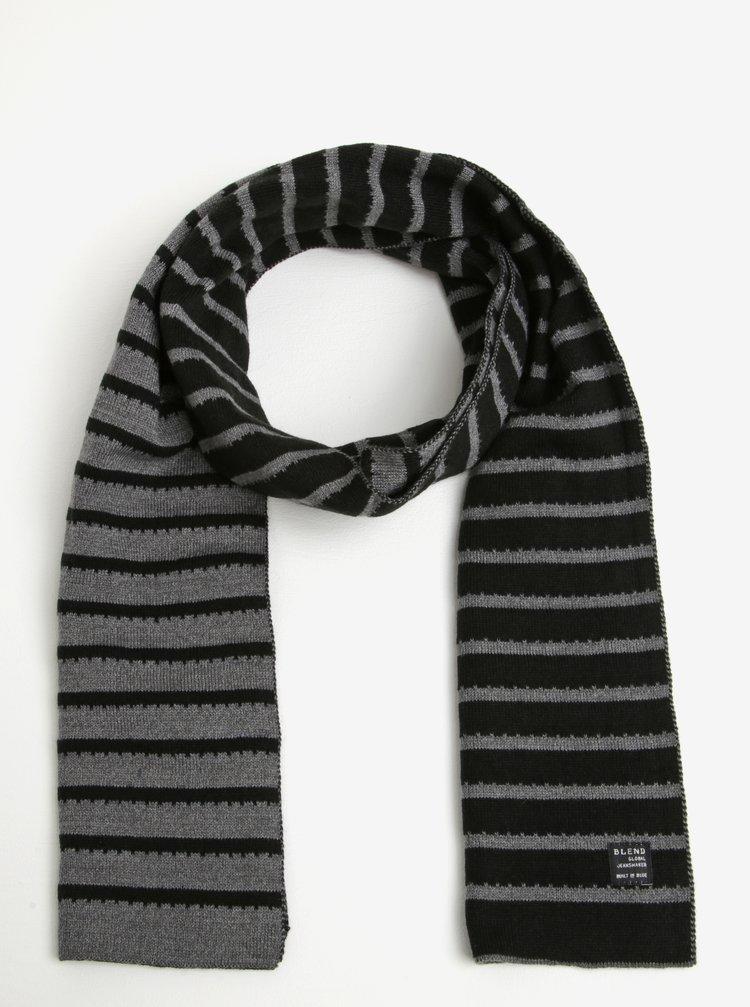 Fular tricotat cu dungi negru cu gri Blend