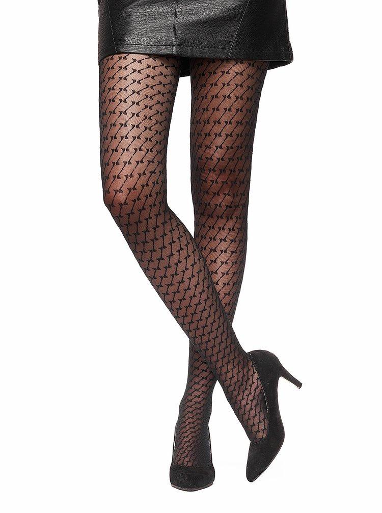 Černé vzorované punčochové kalhoty Oroblu Lucy
