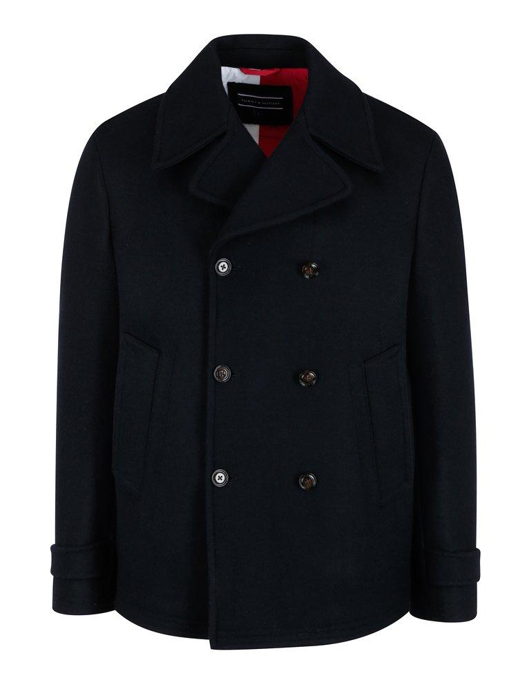 ceaf52d3d Tmavomodrý pánsky krátky vlnený kabát Tommy Hilfiger Jersey   ZOOT.sk