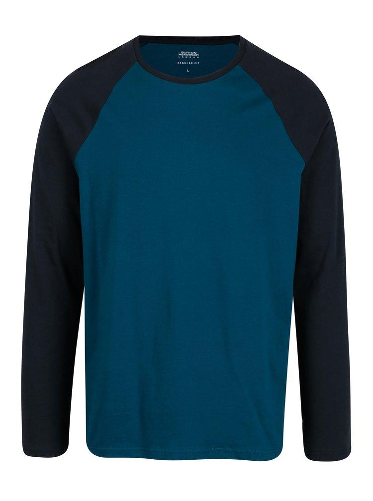 Bluza albastra cu maneci raglan din bumbac - Burton Menswear London