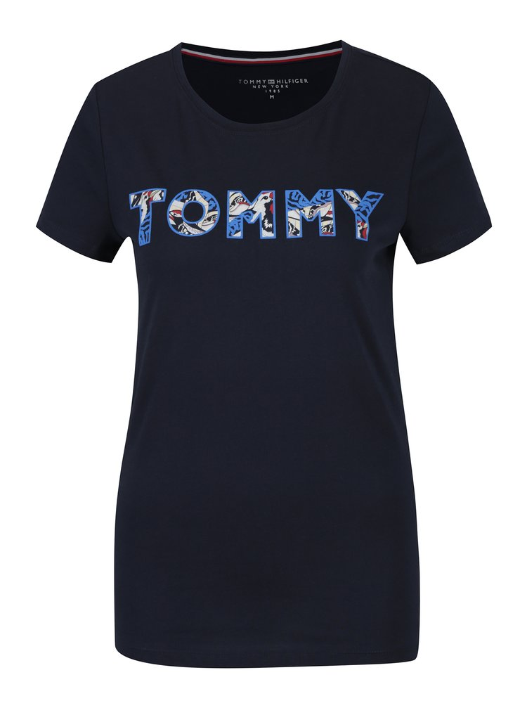 Tmavě modré dámské tričko s potiskem Tommy Hilfiger