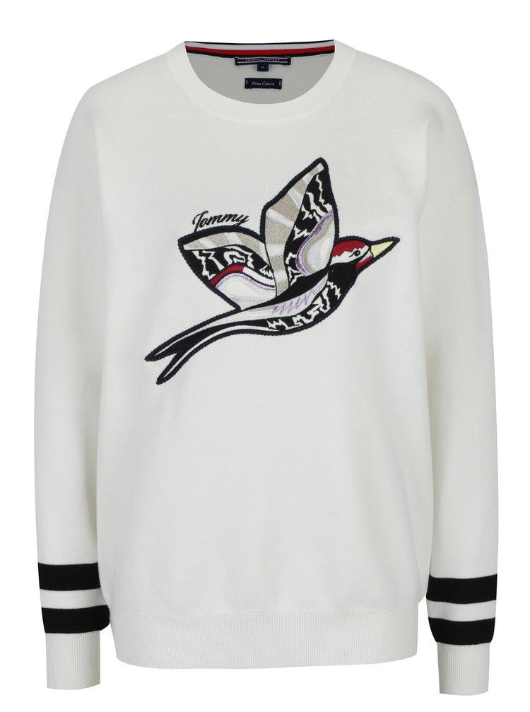 Krémový dámsky sveter s výšivkou Tommy Hilfiger