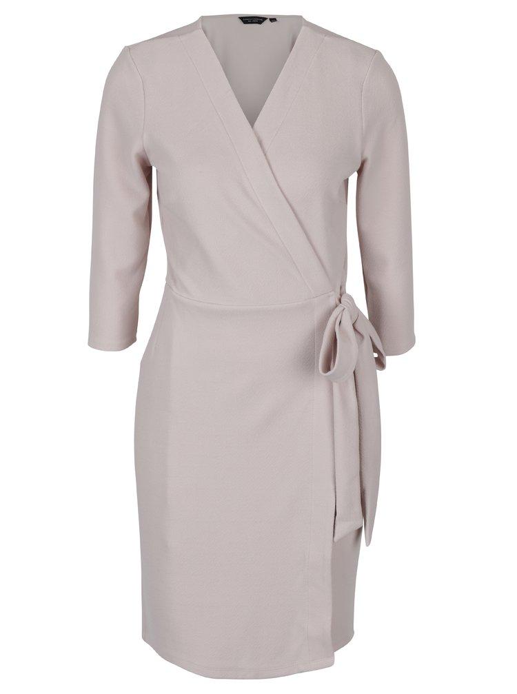 Světle růžové zavinovací šaty se 3/4 rukávy Dorothy Perkins