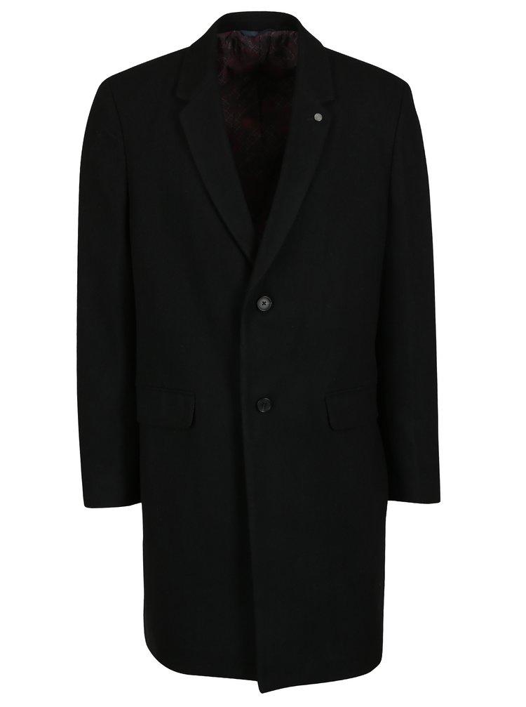 Černý vlněný kabát s kapsami Burton Menswear London