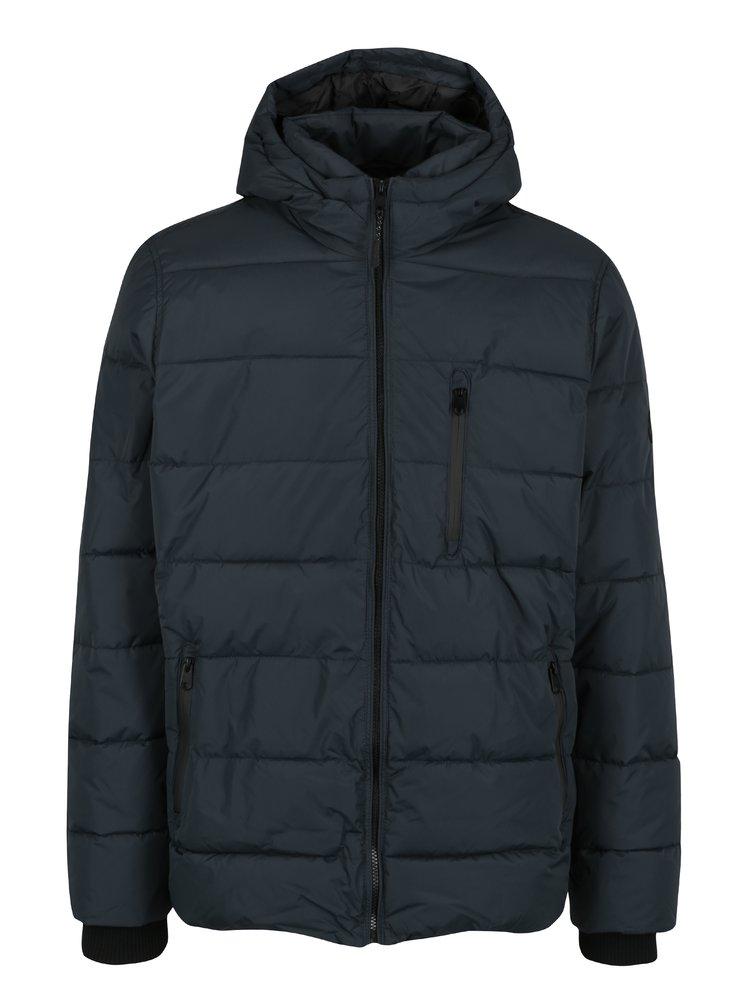 Tmavomodrá prešívaná bunda s kapucňou Burton Menswear London
