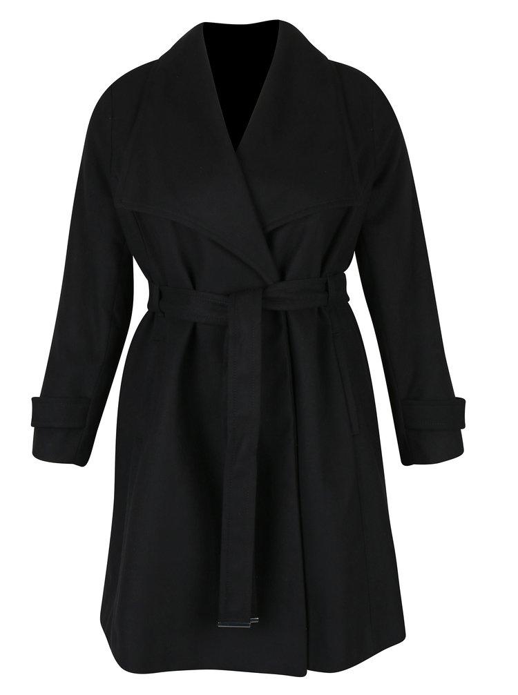 Černý kabát s páskem Dorothy Perkins