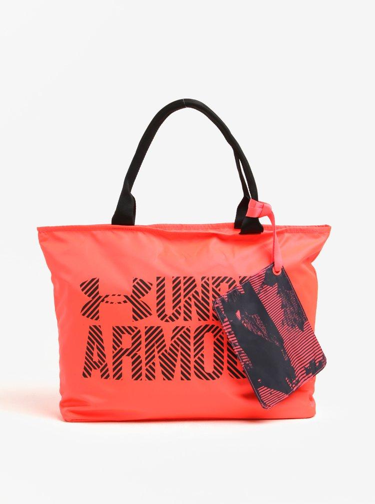 Geanta sport roz - neon  pentru femei cu portofel 2 in 1 Armour UA Big Wordmark 22 l