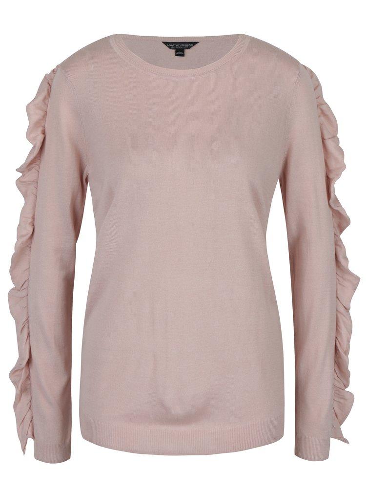 Světle růžový svetr s volánky Dorothy Perkins