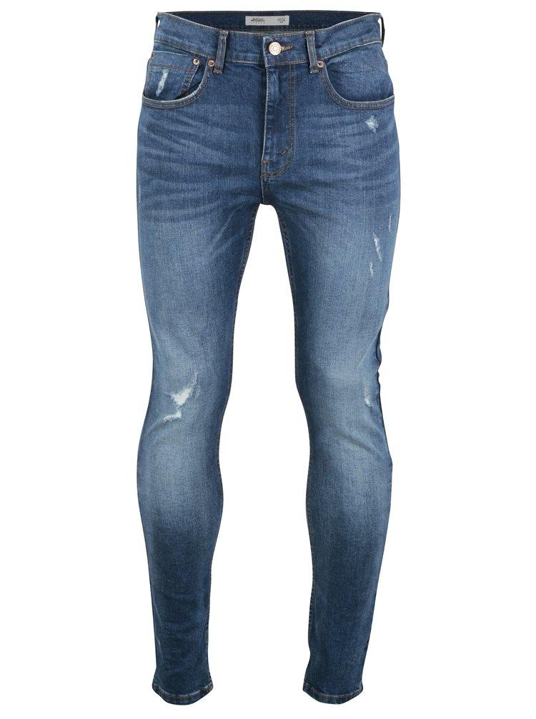 Modré džíny s potrhaným efektem Burton Menswear London