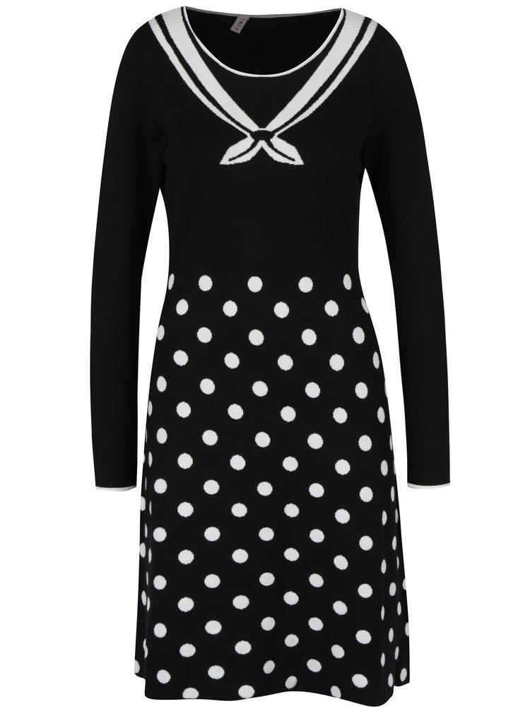 Bílo-černé svetrové šaty s puntíky Blutsgeschwister