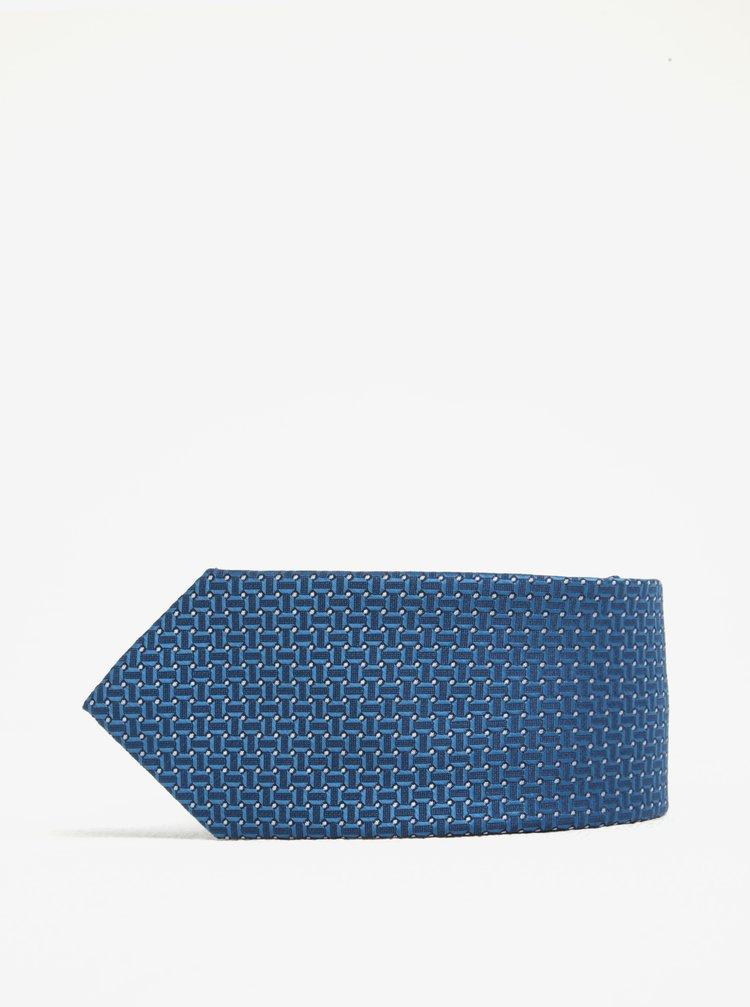 Cravata albastra cu print discret -  Burton Menswear London