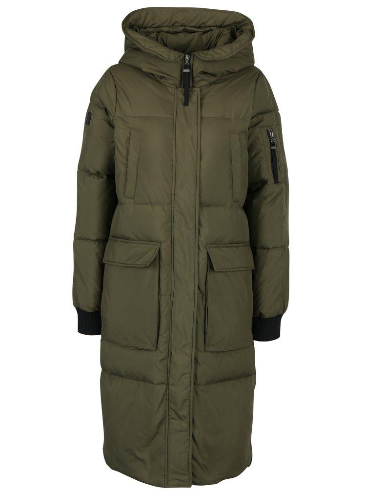 Khaki péřový kabát s kapucí VERO MODA Happy