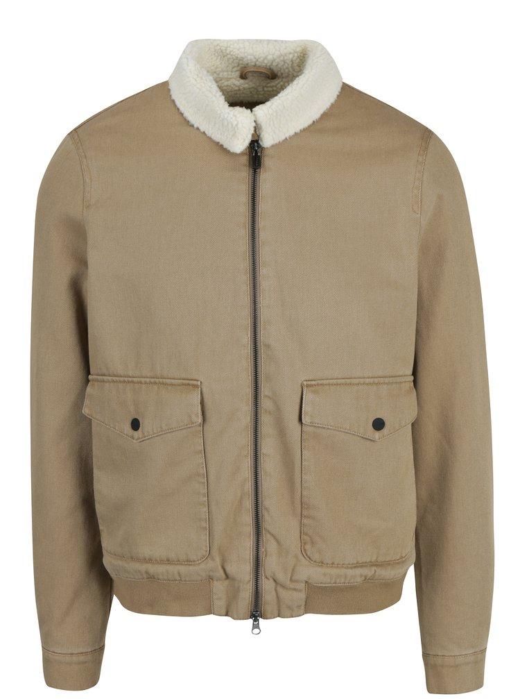 Světle hnědá bunda s umělou kožešinou ONLY & SONS Filie