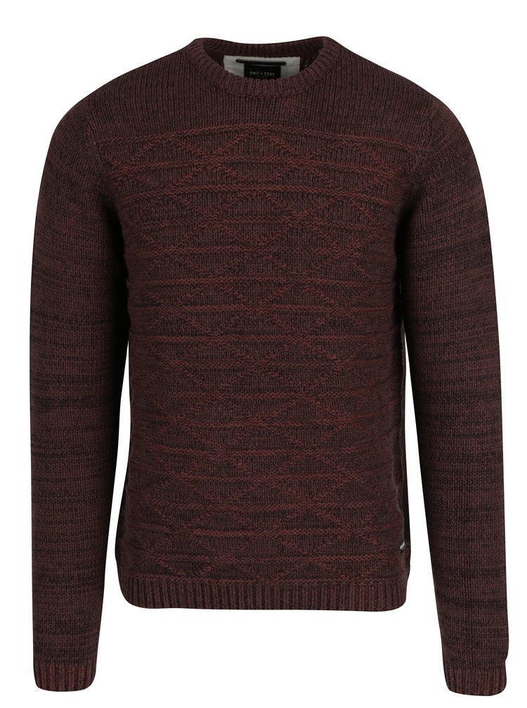 Pulover maro&bordo cu model geometric ONLY & SONS Tominic