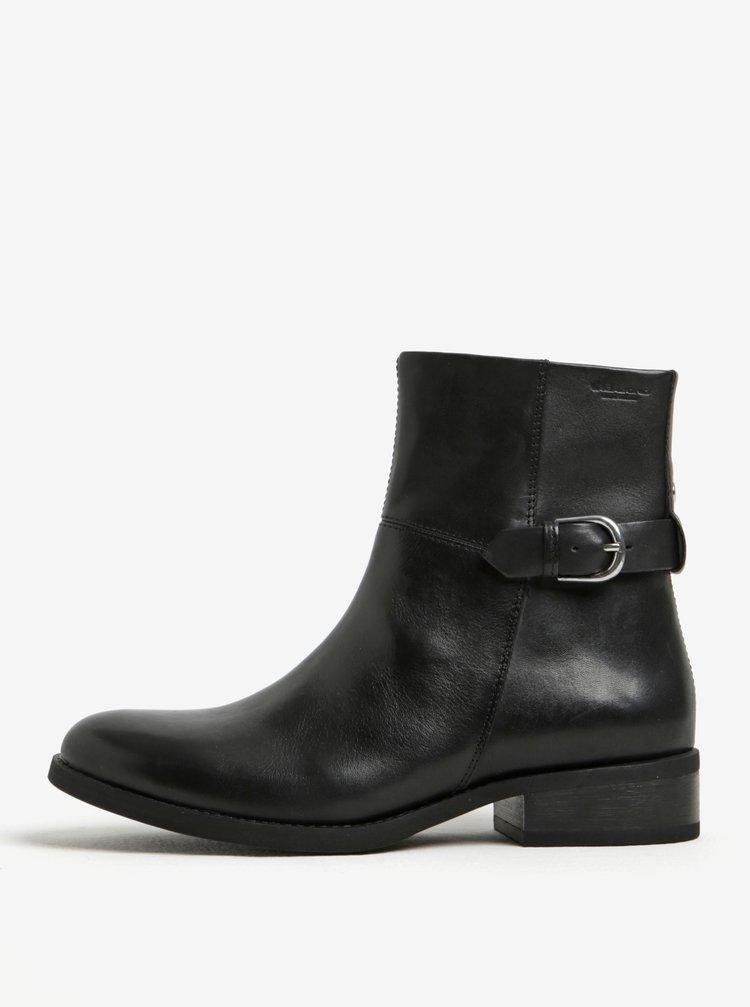 Černé dámské kožené kotníkové boty s přezkou Vagabond Cary