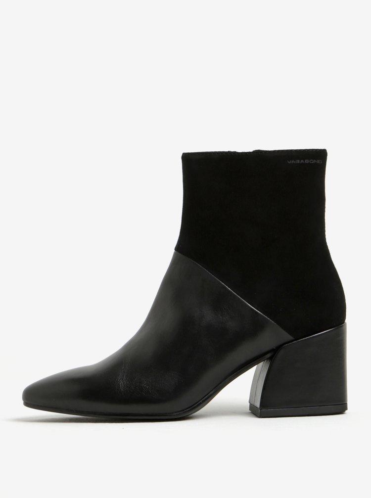 88a8b0a3913 ... Černé dámské kožené kotníkové boty Vagabond Olivia
