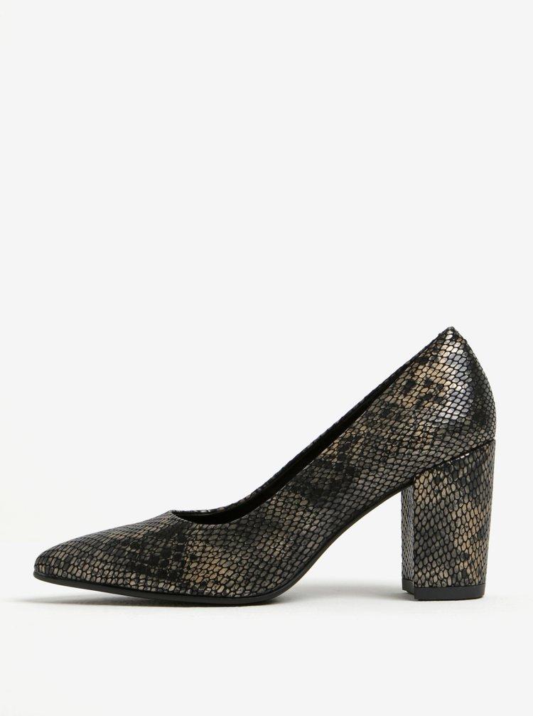 Pantofi cu aspect de piele de reptila si toc patrat Vagabond Saida