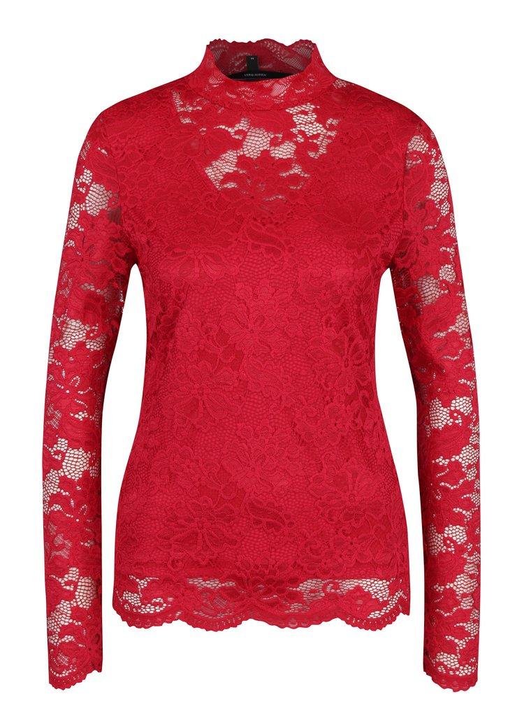 Červený krajkový top s dlouhým rukávem VERO MODA Joy