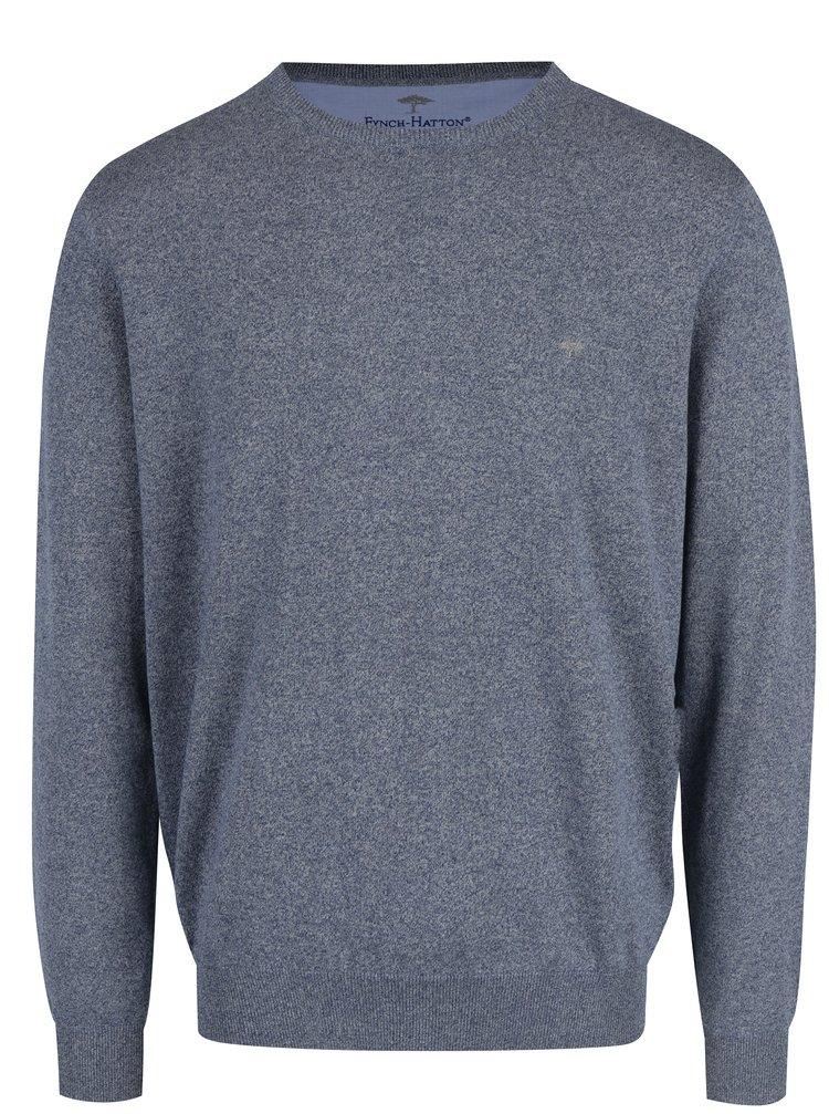 Pulover albastru melanj cu logo brodat - Fynch-Hatton