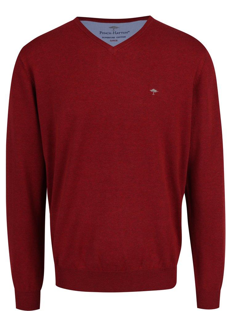 Pulover rosu cu decolteu anchior si logo brodat -  Fynch-Hatton