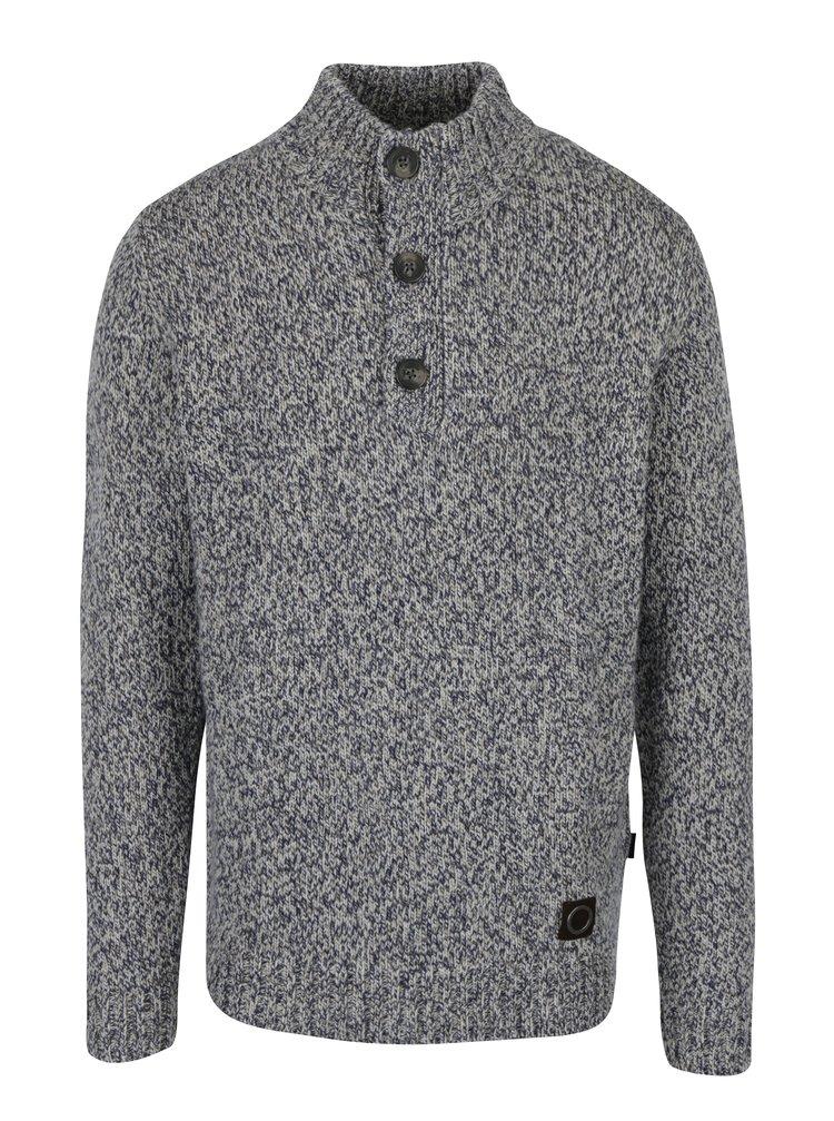 Šedo-modrý vlněný svetr s knoflíky Fynch-Hatton