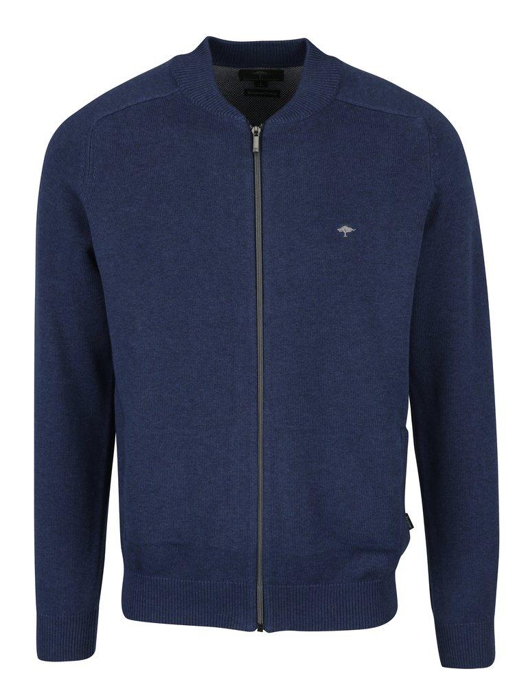 Cardigan albastru cu buzunare si fermoar - Fynch-Hatton