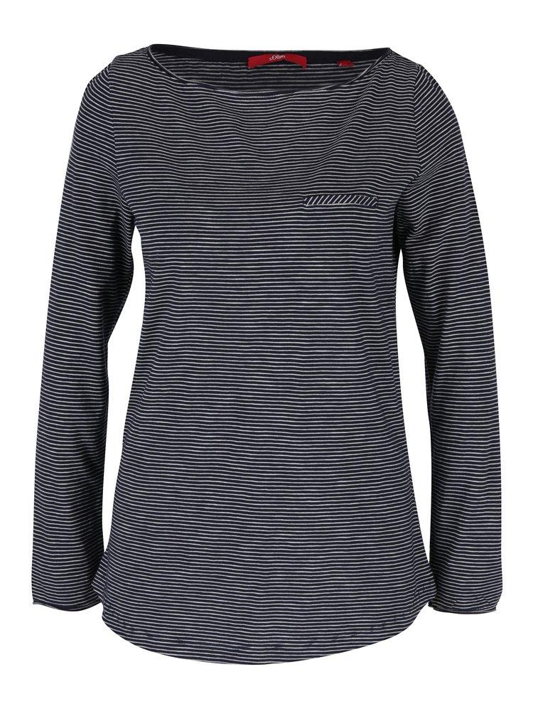Tmavě modré dámské pruhované tričko s dlouhým rukávem s.Oliver