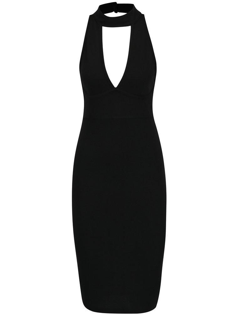 Černé pouzdrové šaty s chokerem a průstřihem v dekoltu Ax Paris