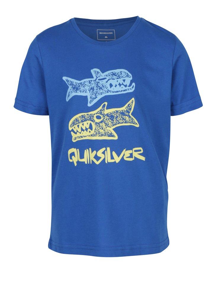 Modré klučičí tričko s potiskem ryb Quiksilver
