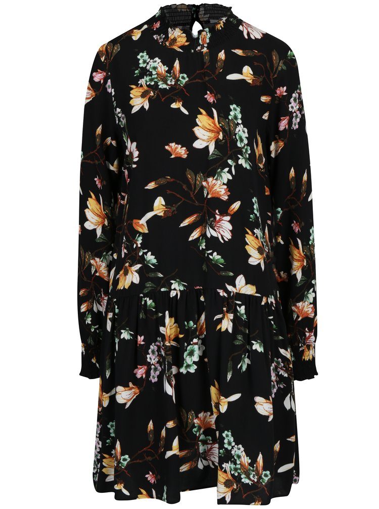 Černé volné květované šaty s průstřihem na zádech VILA Magnolia