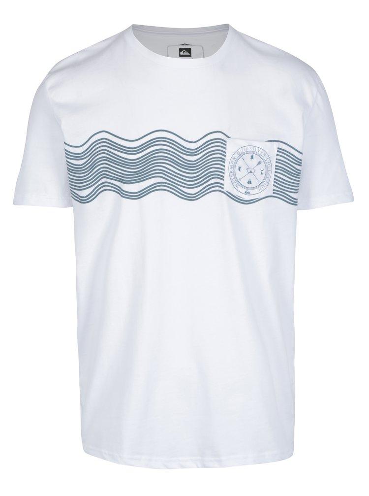 Tricou alb&verde cu print nautic Quiksilver