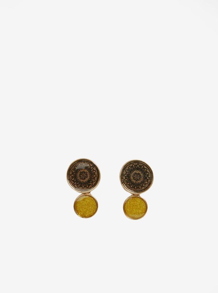 Cercei rotunzi galben cu maro Desigual Bling Oriental