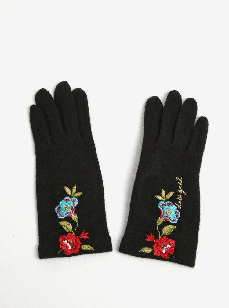 Manusi negre tricotate cu broderie florala Desigual Caribou