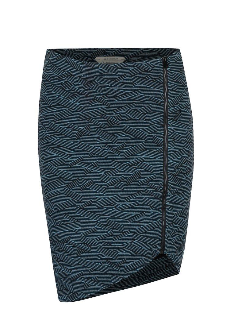 Modro-černá asymetrická pouzdrová sukně Skunkfunk
